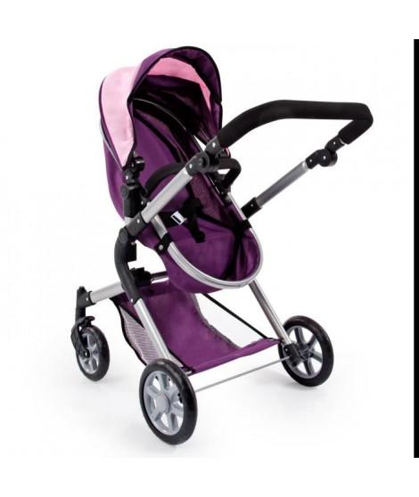 BAYER Landau pour poupée Neo Star prune et rose avec sac a bandouliere et panier d'achat intégré réglable - convertible pouss…