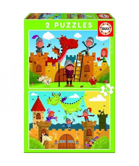 EDUCA - Puzzle Dragons Chevaliers 2X48 pcs