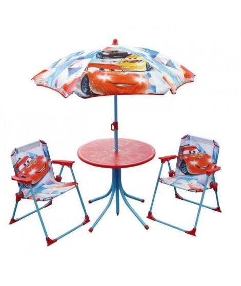 Fun House Disney Cars salon de jardin composé d'une table, de 2 chaises pliables et un parasol pour enfant