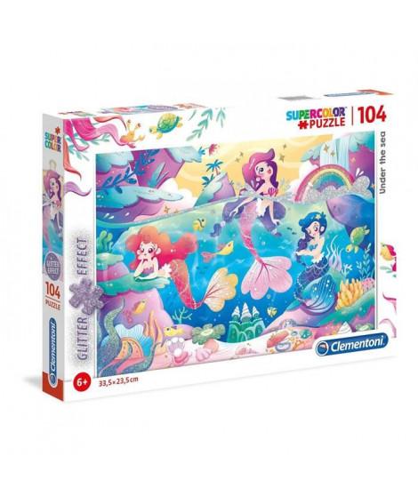 PUZZLE Scintillant Glitter 104 pieces - Sirenes