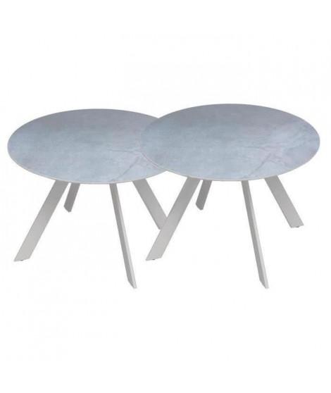 Lot de 2 tables rondes base en métal avec plateau en gres - Blanc