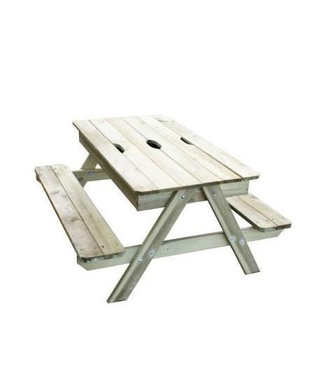 TRIGANO Table Pic nic en bois Enfant avec bac a sable intégré