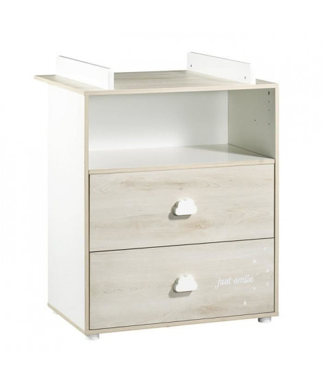 BABYPRICE  Commode a Langer Smile Hetre Cendré 2 Tiroirs