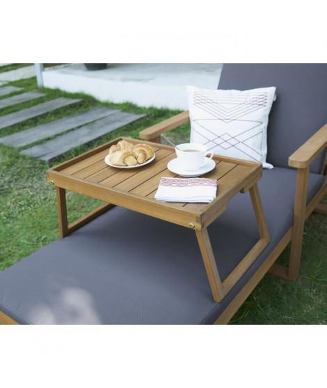 Plateau desserte de jardin - Pieds pliants - L 63 x l 35 x H 25 cm - Coloris : bois naturel