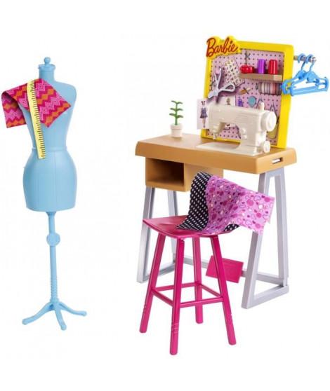 BARBIE - Coffret Atelier de Mode avec accessoires de création - Accessoires Poupée