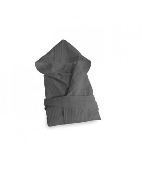 SOLEIL D'OCRE Peignoir Nid d'Abeille a capuche - Taille M - 100% Coton - Gris