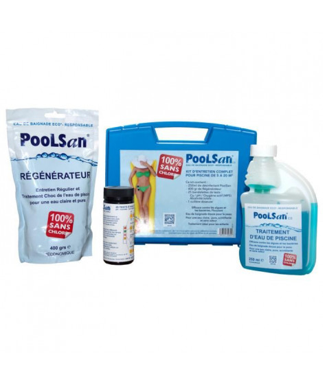 POOLSAN Kit complet de désinfection - 100% sans chlore - Pour piscines de 5 a 20 m³