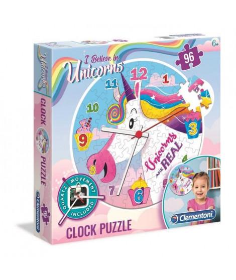 PUZZLE Horloge 96 pieces - Licornes