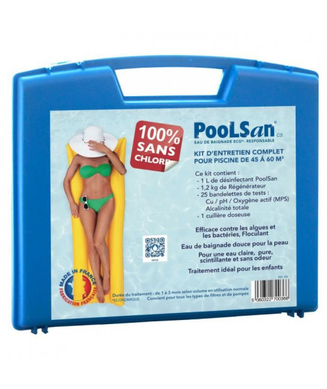 POOLSAN Kit complet de désinfection - 100% sans chlore - Pour piscines de 45 a 60 m³