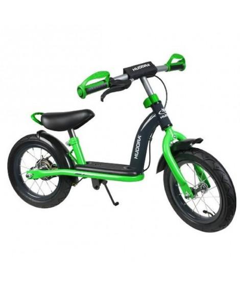 Draisienne Hudora - pneus 12 pouces et frein arriere, Vert et Noir