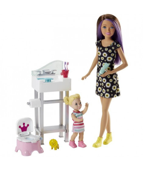 BARBIE - Coffret Babysitter Pot - Coffret Poupée - Comprend 1 Poupée, 1 bébé, 1 pot & des accessoires
