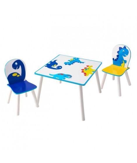 HELLOHOME Table et deux chaises enfant - motif Dinosaures