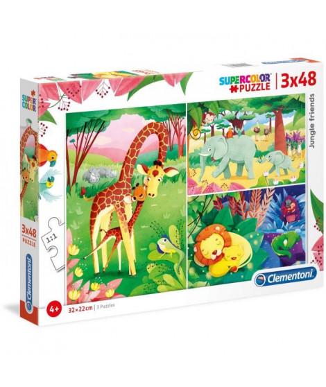 PUZZLES 3x48 pieces - Animaux de la Savane et leur petit