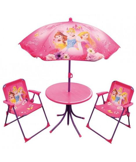 Fun House Disney princesses salon de jardin composé d'une table, de 2 chaises pliables et un parasol pour enfant