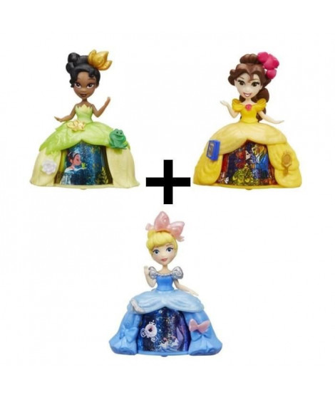 DISNEY PRINCESSES - Pack de 3 Mini-poupées robe tournante