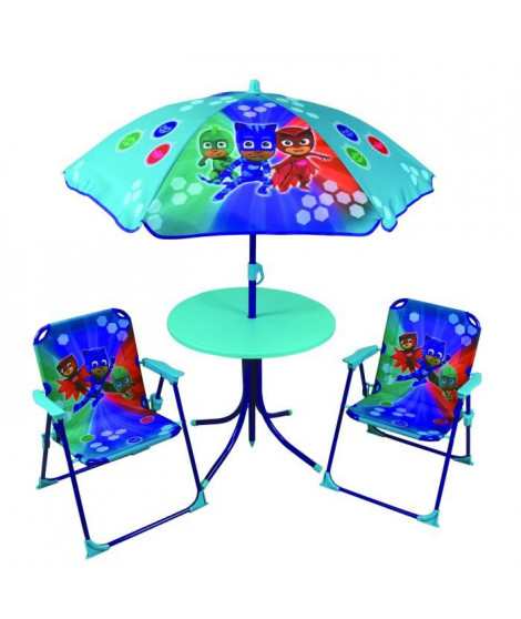 Fun House Pyjamasques ensemble de jardin ( table, 2 chaises, 1 parasol) pour enfant