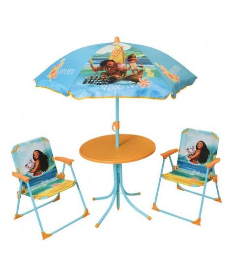 VAIANA Salon de jardin composé d'une table, de 2 chaises pliables et un parasol pour enfant - Disney Princesses