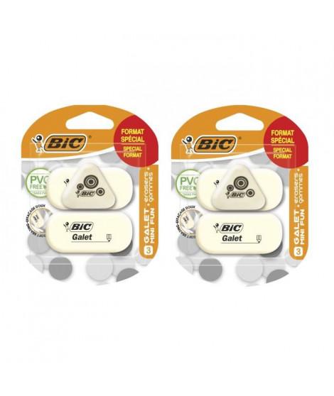 Lot de 2 BIC Galet et Mini Fun Gommes - Blister Format Spécial de 3