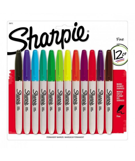 SHARPIE Lot de 12 marqueurs permanents - Pointe fine - couleurs standard assorties