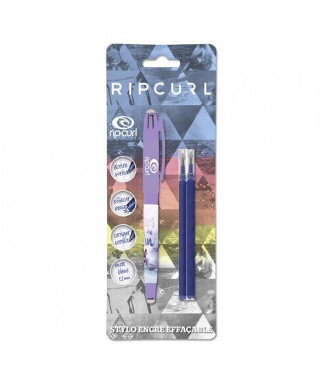 RIP-CURL LIVE THE SEARCH Stylo Roller + 2 recharges gel effaçable - Bleu - S/Coque