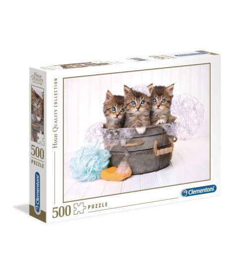PUZZLE 500 pieces - Kittens and soap - 49 X 36 cm