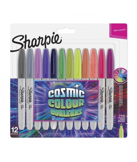 SHARPIE Lot de 12 marqueurs permanents - Pointe fine - Edition limitée - Cosmic couleurs