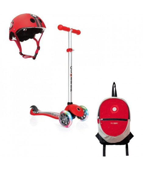GLOBBER Pack Trottinette 3 roues + Casque + Sac a Dos - Rouge