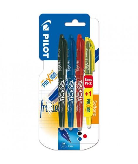 PILOT - Frixion Ball Moyen - Encre noire / bleue / rouge - x3 + 1 BONUS PACK Frixion Light Jaune