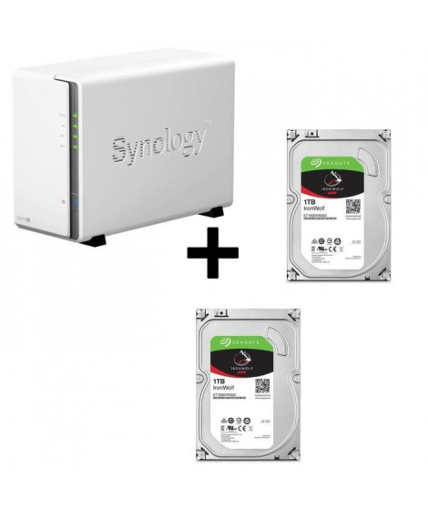 "Pack Synology Serveur NAS Diskstation DS216se DS216se + 2 Disques Durs Seagate NAS HDD Iron Wolf 1To 3,5"" ST1000VN002"