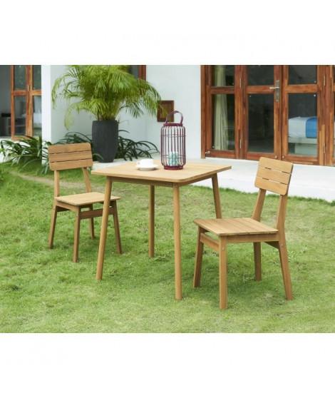 Ensemble repas de jardin - table 70x70cm et 2 chaises - En acacia FSC