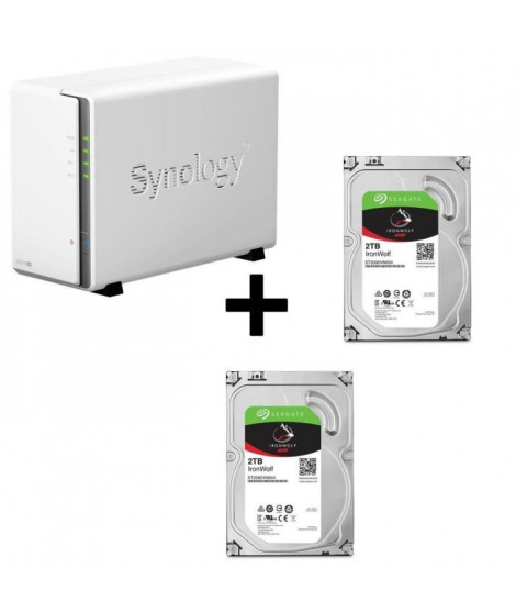 "Pack Synology Serveur NAS Diskstation DS216se DS216se + 2 Disques Durs Seagate NAS HDD Iron Wolf 2To 3,5"" ST2000VN004"