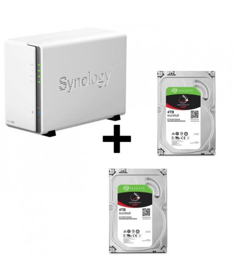 "Pack Synology Serveur NAS Diskstation DS216se DS216se + 2 Disques Durs Seagate NAS HDD Iron Wolf 4To 3,5"" ST4000VN008"