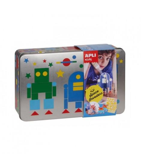 APLI Jeu de gommette - En boîte métal Ma boîte a robots