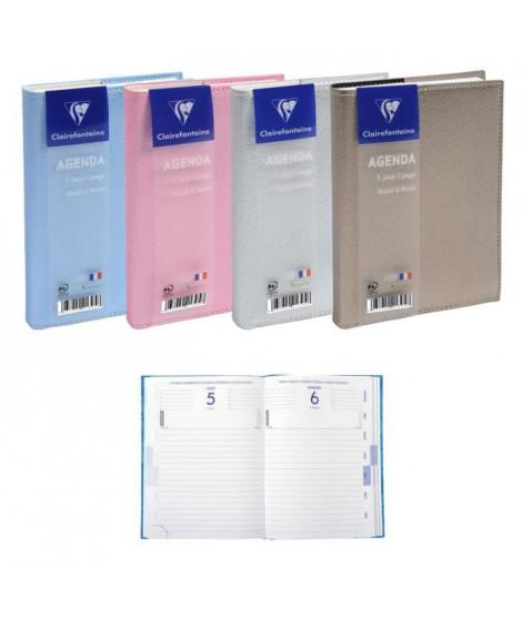 CLAIREFONTAINE Agenda 400 pages - 1 jour par page - 120 x 170 mm - Papier PEFC - Couverture amovible PU métallisé 4 couleurs …