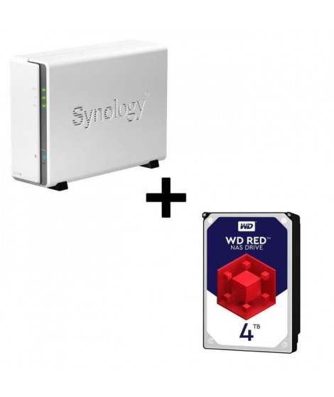 Pack Synology Serveur NAS DiskStation DS115j + 1 Disque Dur WD Red 4To 64Mo 3.5 WD40EFRX