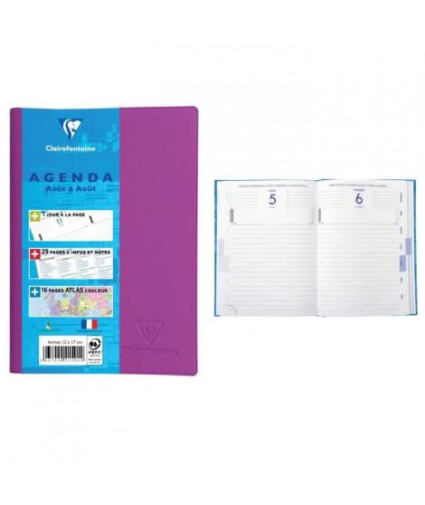 CLAIREFONTAINE Agenda scolaire 400 pages - 1 jour par page - 120 x 170 mm - Papier PEFC - Couverture PVC toucher gomme amovib…