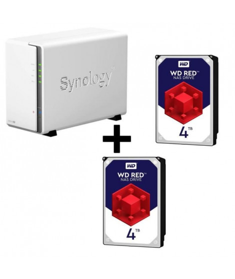 Pack Synology Serveur NAS Diskstation DS216se DS216se + 2 Disques Durs WD Red 4To 64Mo 3.5 WD40EFRX