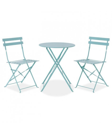 FINLANDEK - Set bistrot table Ø 60 cm + 2 chaises - Bleu aqua
