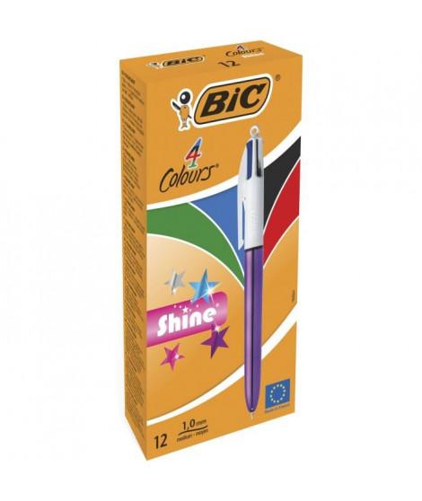 BIC 4 Couleurs Shine Stylos-Bille Rétractables Pointe Moyenne (1,0 mm) - Corps Violet Métallisé, Boîte de 12