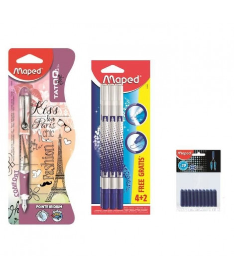 Pack MAPED Stylo Plume Paris + 6 Effaceurs + 40 Cartouches