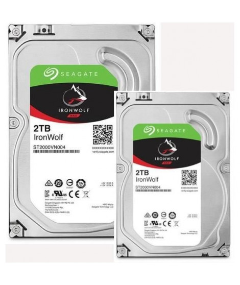 "SEAGATE Pack de 2 Disques durs NAS HDD Iron Wolf 2To 3,5""  - ST2000VN004"