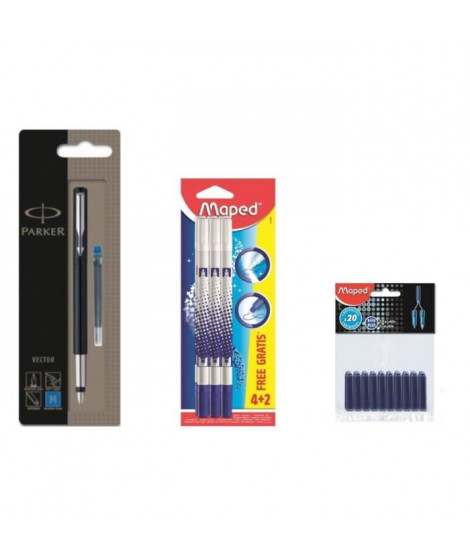 Pack PARKER Stylo Plume + MAPED 6 Effaceurs + SCHNEIDER 30 Cartouches