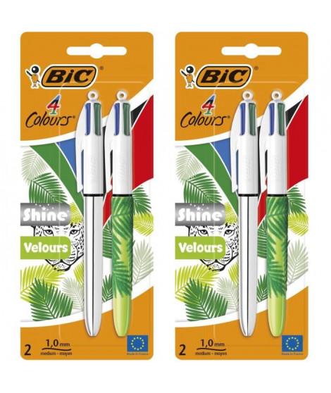 Lot de 2 BIC 4Couleurs Shine et BIC 4 Couleurs Velours Stylos-Bille Rétractables Pointe Moyenne (1,0 mm) - Blister de 2