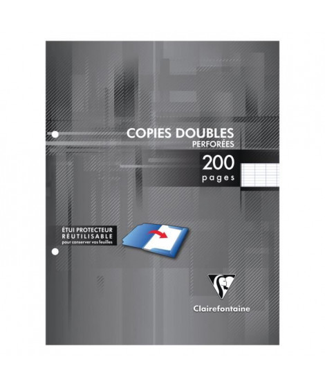CLAIREFONTAINE - Copies doubles blanches perforées - 17 x 22 - 200 pages Seyes