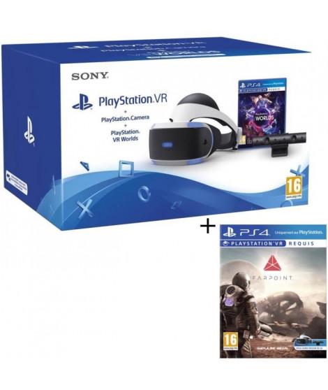 PlayStation VR + PlayStation Caméra + 2 Jeux : VR Worlds + Farpoint VR