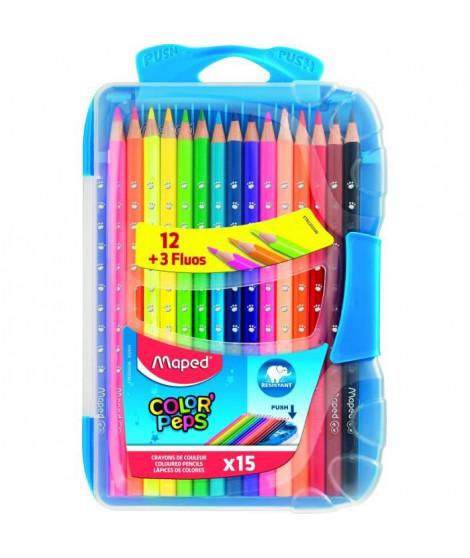 MAPED - Crayons de couleurs Color'Peps x 15 dans boîte en plastique