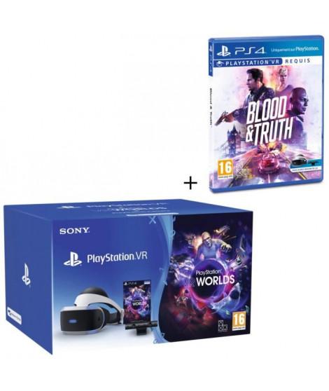 Pack Playstation VR V2 + Caméra V2 + 2 Jeux : Blood and Truth + VR Worlds a télécharger