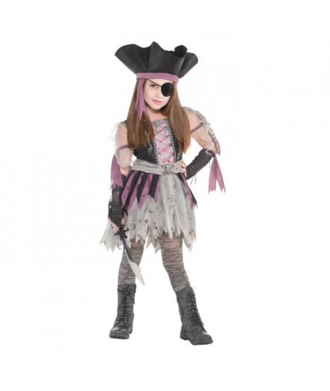AMSCAN Haunted Pirate - Costume Ado Fille - Robe, chapeau, mitaines et collants
