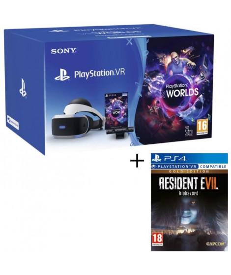 PlayStation VR V2 + PlayStation Caméra + VR Worlds (Voucher) + Resident Evil 7: Biohazard Gold Edition Jeu PS4