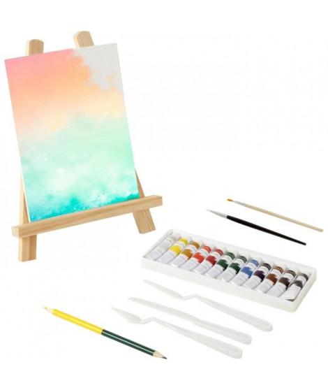 MAIN D'ARTISTE 12 tubes de peinture + chevalet 28cm + toile 15x21cm + 2 pinceaux + 1 crayon + 3 accessoires